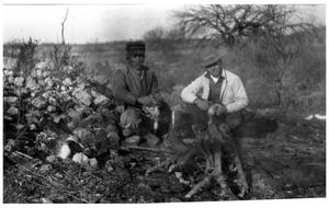 Primary view of object titled '[Two Men at a Campfire]'.