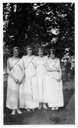Primary view of object titled '[Four Young Women in White Dresses]'.