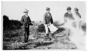 Primary view of object titled '[Four Men on Matthews Ranch Land]'.