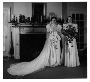 Primary view of object titled '[Two Women in Wedding Dresses]'.