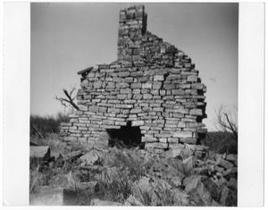 Primary view of object titled '[Remains of a Chimney and Fireplace]'.