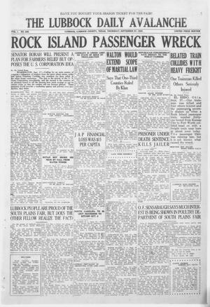 Primary view of object titled 'The Lubbock Daily Avalanche (Lubbock, Texas), Vol. 1, No. 285, Ed. 1 Thursday, September 27, 1923'.