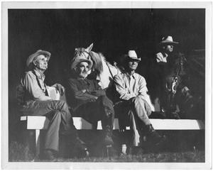 Primary view of object titled '[Four Men and Two Horses]'.