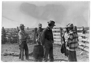 Primary view of object titled '[Cowboys Around a Flaming Barrel]'.