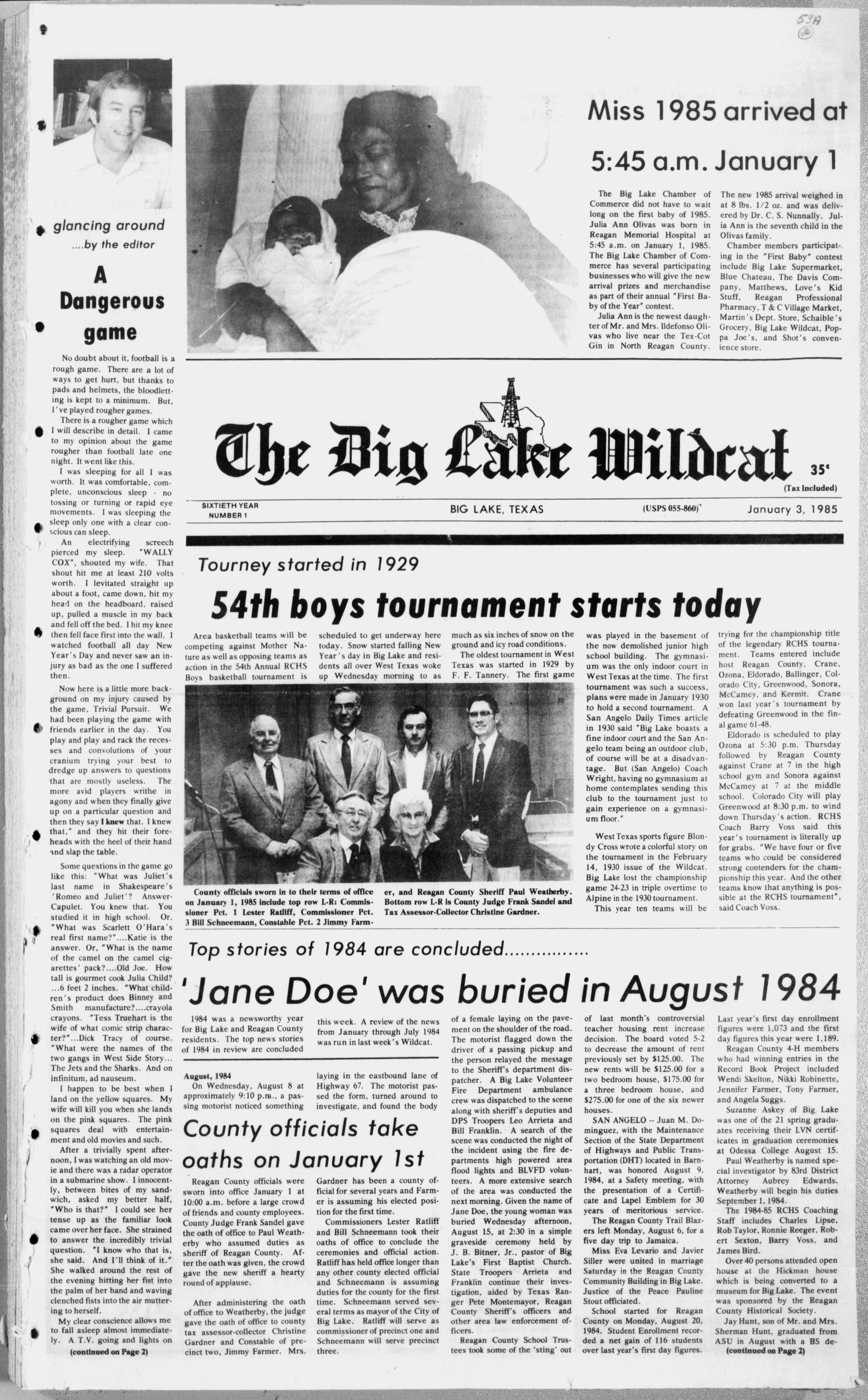 The Big Lake Wildcat (Big Lake, Tex.), Vol. 60, No. 1, Ed. 1 Thursday, January 3, 1985                                                                                                      [Sequence #]: 1 of 10