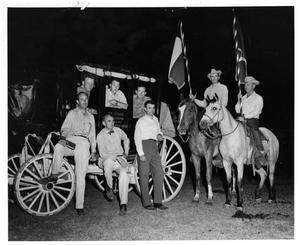 Primary view of object titled '[Men with Horses and a Stage Coach at Night]'.