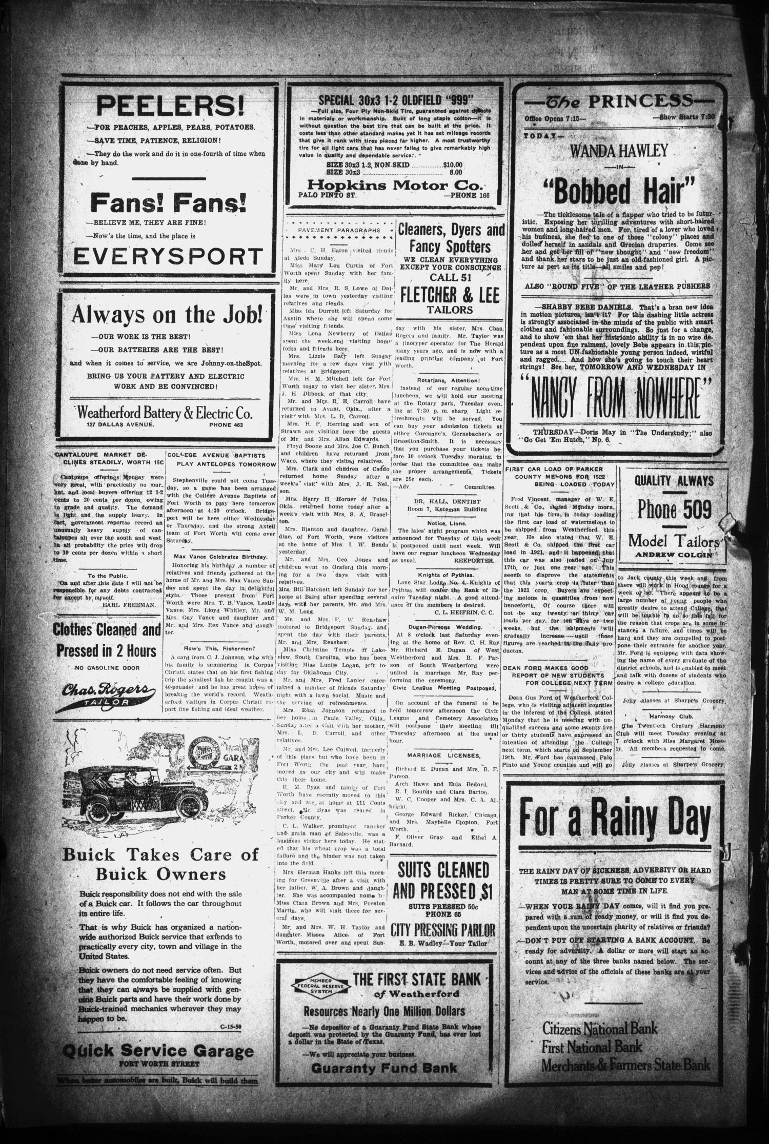 The Daily Herald (Weatherford, Tex.), Vol. 23, No. 151, Ed. 1 Monday, July 17, 1922                                                                                                      [Sequence #]: 4 of 4
