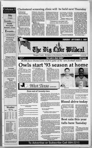 Primary view of object titled 'The Big Lake Wildcat (Big Lake, Tex.), Vol. 68, No. 35, Ed. 1 Thursday, September 2, 1993'.