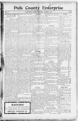 Primary view of object titled 'Polk County Enterprise (Livingston, Tex.), Vol. 5, No. 25, Ed. 1 Thursday, March 11, 1909'.