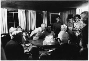 Primary view of object titled '[Watt Matthews Blowing Out Birthday Candles]'.