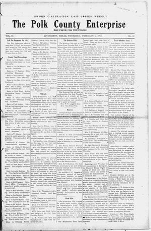 Primary view of object titled 'The Polk County Enterprise (Livingston, Tex.), Vol. 9, No. 21, Ed. 1 Thursday, February 6, 1913'.