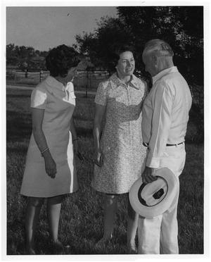 Primary view of object titled '[Lyndon B. Johnson and Lady Bird Johnson with a Woman]'.
