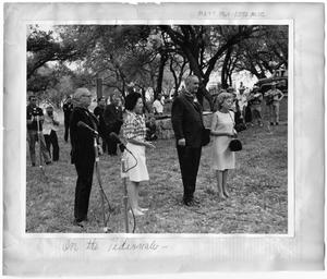 Primary view of object titled '[Lyndon B. Johnson Visiting Lambshead Ranch During Fandangle]'.
