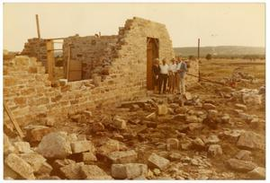 Primary view of object titled '[Stone Building Under Construction]'.