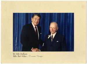 Primary view of object titled '[Ronald Reagan Shaking Watt Matthews' Hand]'.