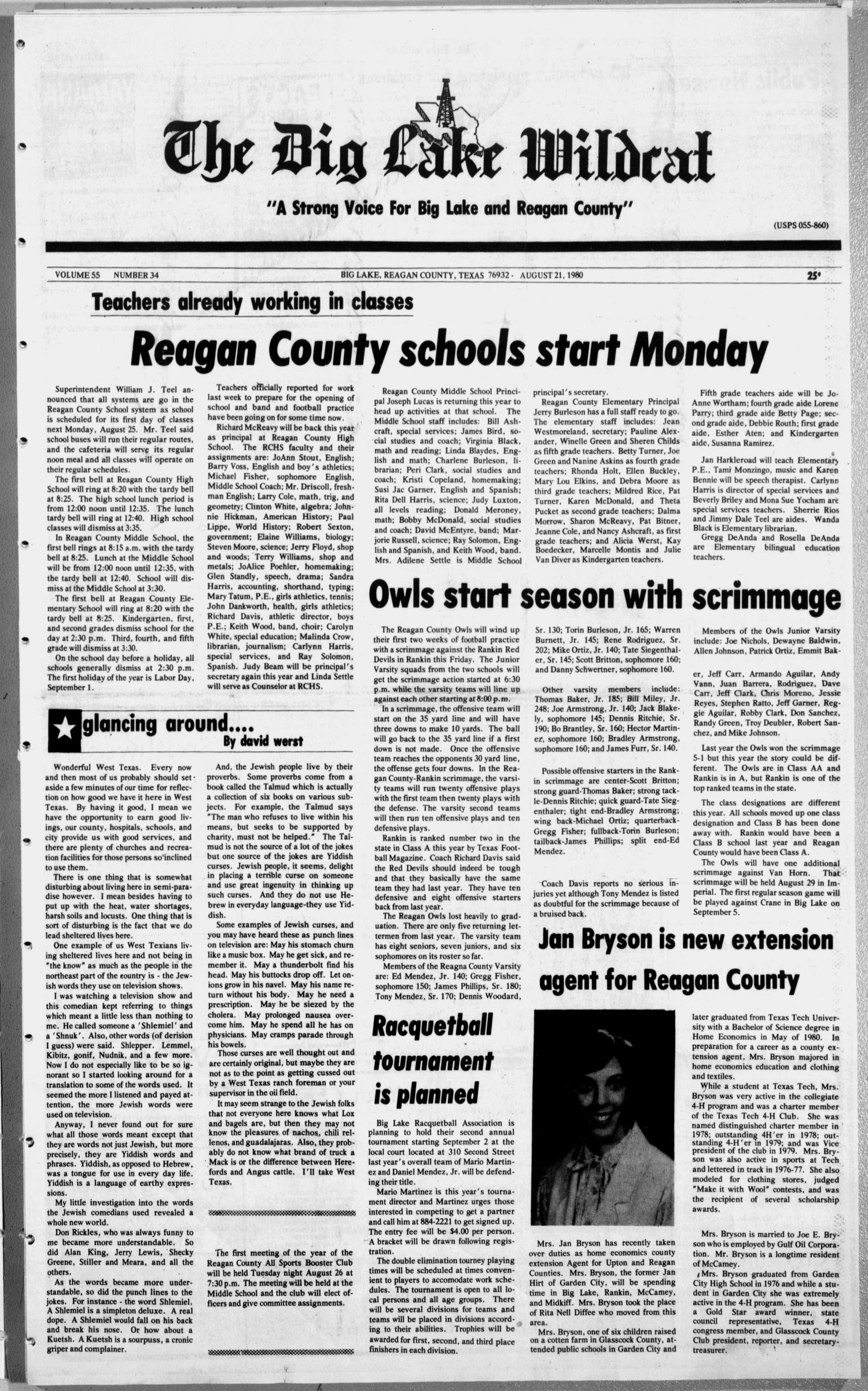 The Big Lake Wildcat (Big Lake, Tex.), Vol. 55, No. 34, Ed. 1 Thursday, August 21, 1980                                                                                                      [Sequence #]: 1 of 8