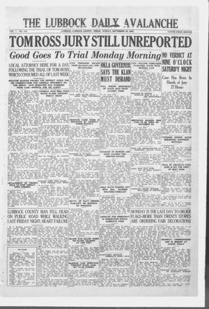 Primary view of object titled 'The Lubbock Daily Avalanche (Lubbock, Texas), Vol. 1, No. 275, Ed. 1 Sunday, September 16, 1923'.