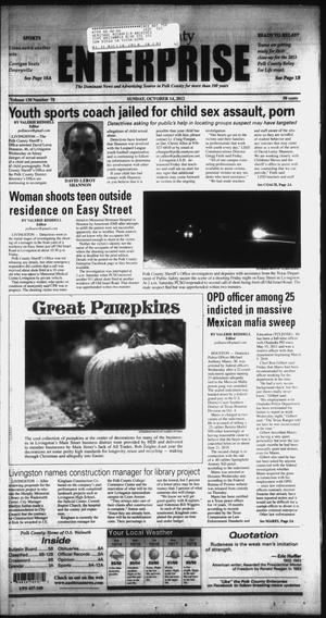 Primary view of object titled 'Polk County Enterprise (Livingston, Tex.), Vol. 130, No. 78, Ed. 1 Sunday, October 14, 2012'.