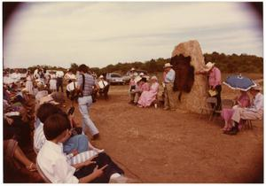 Primary view of object titled '[Crowd Seated for an Event at a Stele]'.