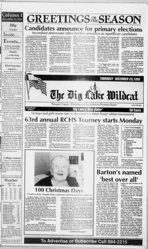Primary view of object titled 'The Big Lake Wildcat (Big Lake, Tex.), Vol. 68, No. 51, Ed. 1 Thursday, December 23, 1993'.