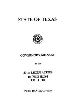 Primary view of object titled 'State of Texas Governor's Message to the 57th Legislature, 1st Called Session July 10, 1961'.