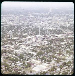Primary view of object titled 'Photo-Aerial photo view of downtown before HemisFair'.