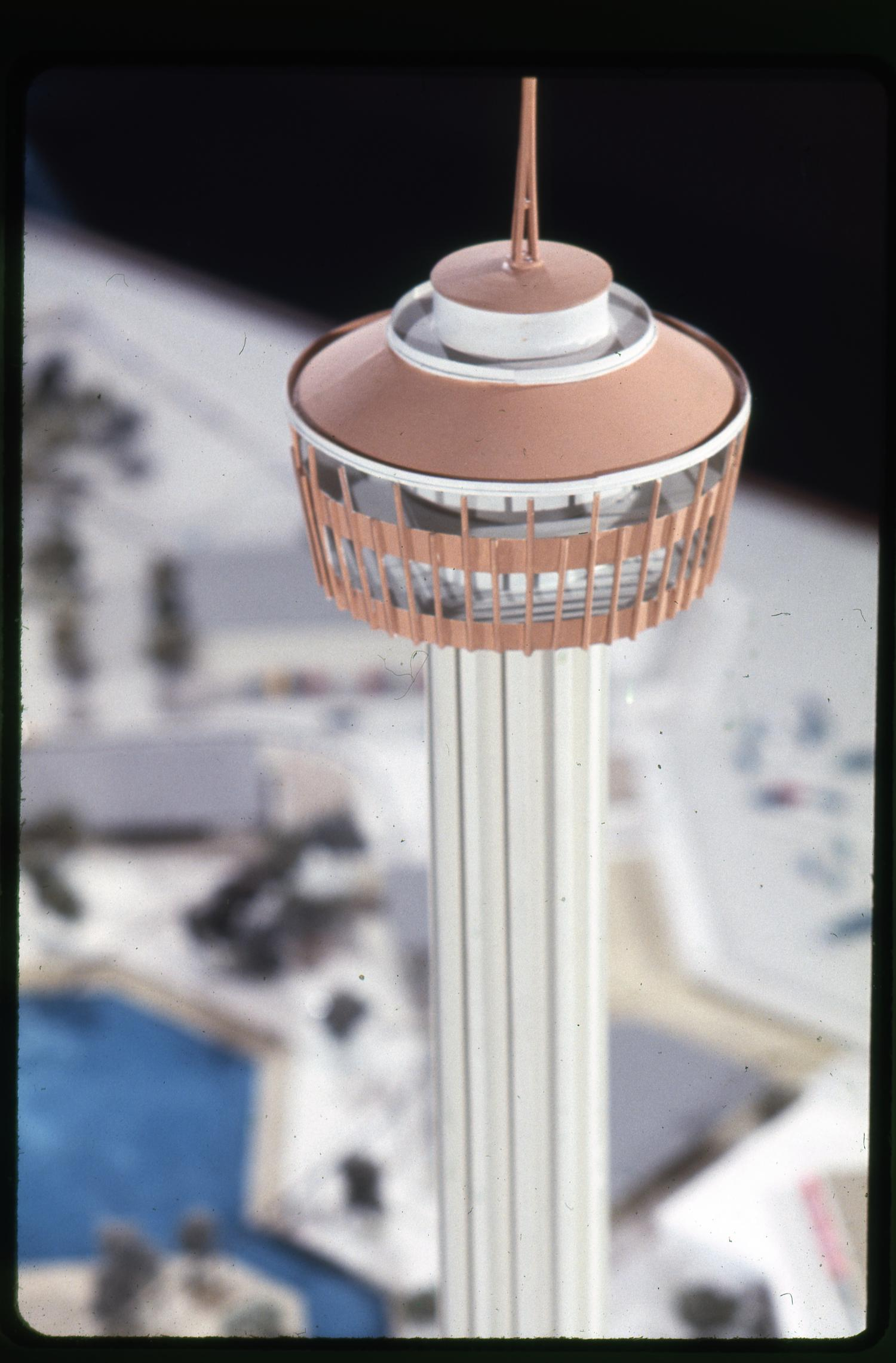Model Tower Of The Americas Close Up Of The Top Of Tower