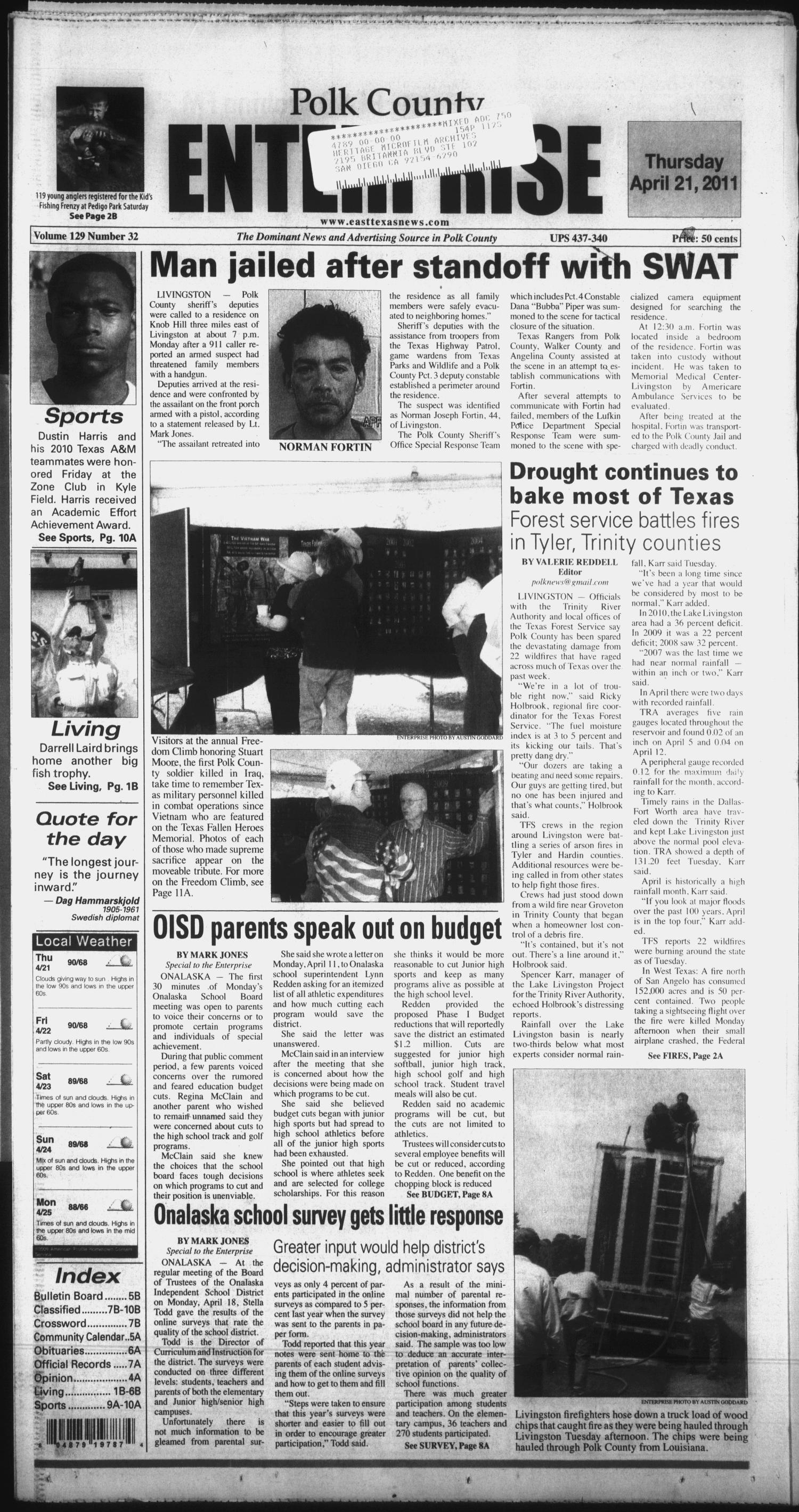 Polk County Enterprise (Livingston, Tex.), Vol. 129, No. 32, Ed. 1 Thursday, April 21, 2011                                                                                                      [Sequence #]: 1 of 24