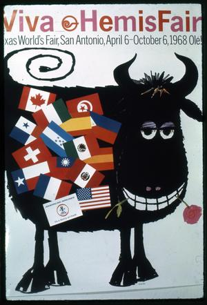 Hemisfair poster- cow with horns and flags