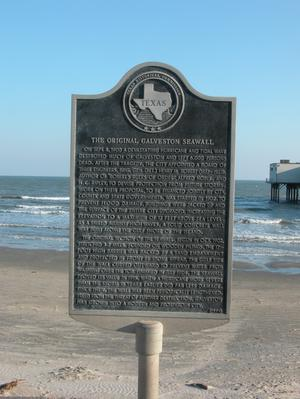 Primary view of object titled 'Historic Plaque, The Original Galveston Seawall'.