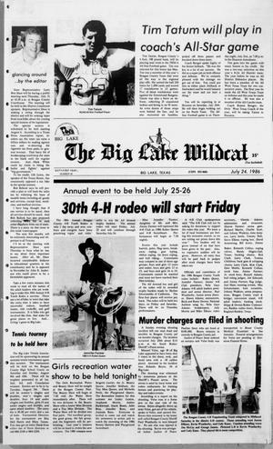 Primary view of object titled 'The Big Lake Wildcat (Big Lake, Tex.), Vol. SIXTY-FIRST YEAR, No. 30, Ed. 1 Thursday, July 24, 1986'.
