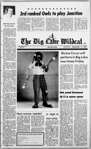 Primary view of object titled 'The Big Lake Wildcat (Big Lake, Tex.), Vol. 62, No. 38, Ed. 1 Thursday, September 17, 1987'.