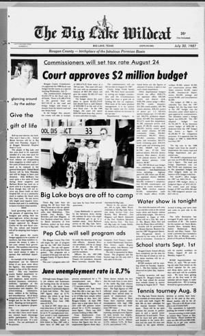 Primary view of object titled 'The Big Lake Wildcat (Big Lake, Tex.), Vol. SIXTY-SECOND YEAR, No. 31, Ed. 1 Thursday, July 30, 1987'.