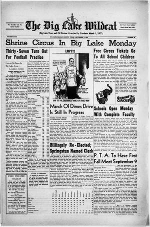 Primary view of object titled 'The Big Lake Wildcat (Big Lake, Tex.), Vol. 29, No. 35, Ed. 1 Friday, September 3, 1954'.