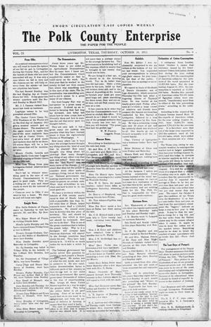 Primary view of object titled 'The Polk County Enterprise (Livingston, Tex.), Vol. 9, No. 6, Ed. 1 Thursday, October 24, 1912'.