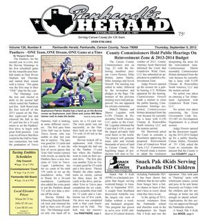 Primary view of object titled 'Panhandle Herald (Panhandle, Tex.), Vol. 126, No. 08, Ed. 1 Thursday, September 5, 2013'.