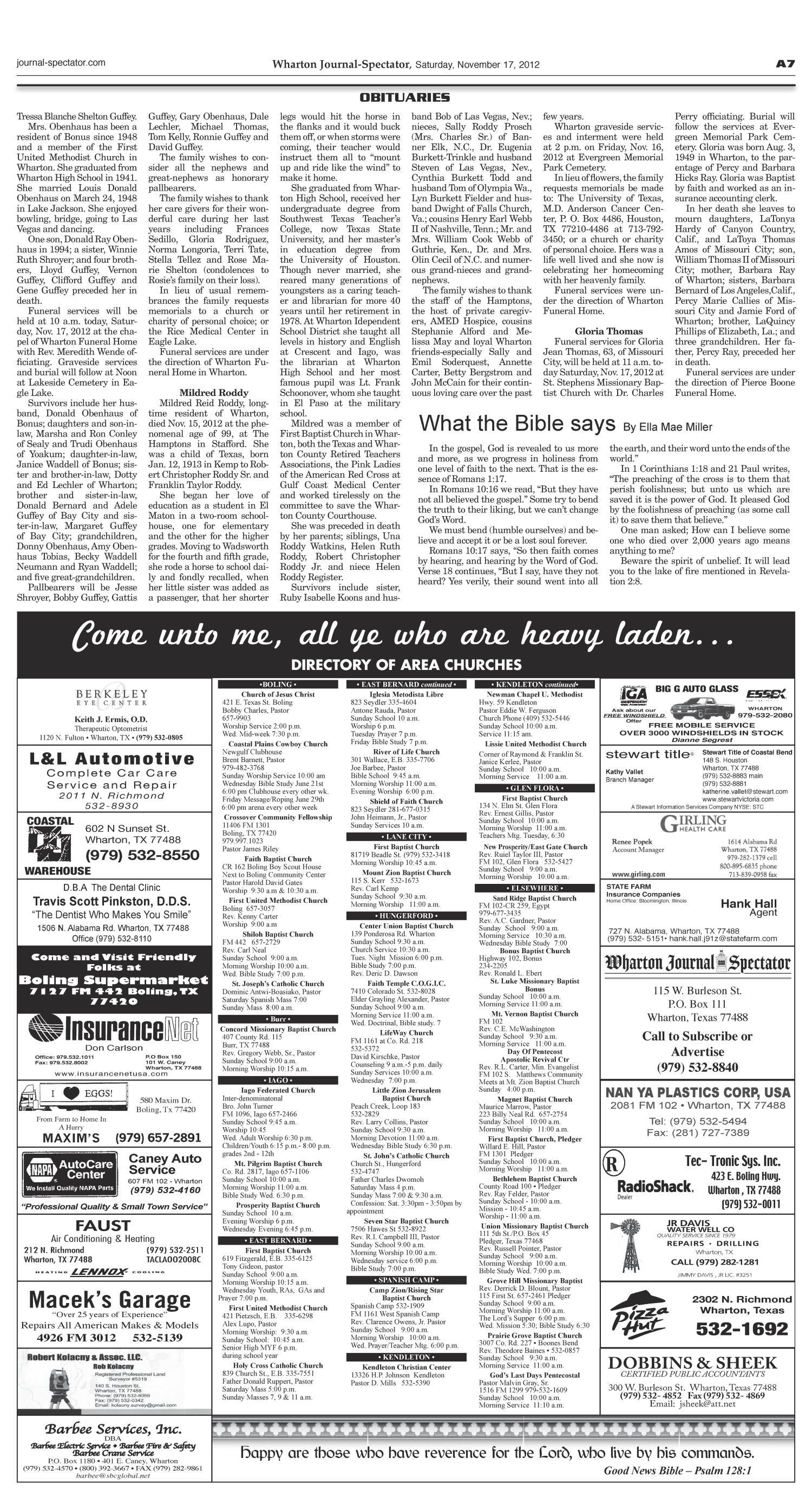 Wharton Journal-Spectator (Wharton, Tex ), Vol  123, No  92, Ed  1