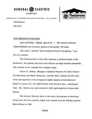 Primary view of object titled 'General Electric Company's Theaterama press release'.