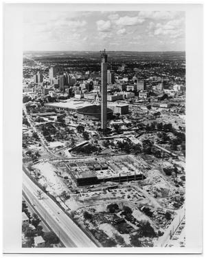 Primary view of object titled 'Aerial view of HemisFair '68 construction site'.