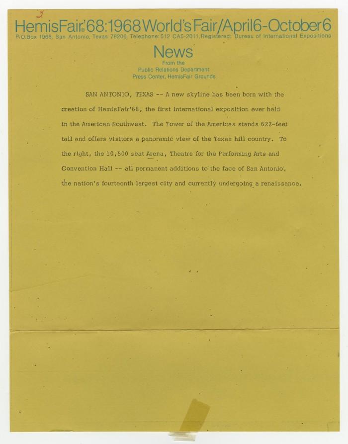 b268fa27421 HemisFair '68: 1968 World's Fair/April 6-October 6 news - The Portal ...