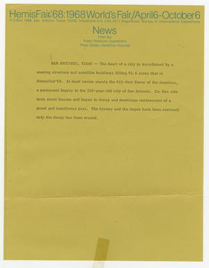 Primary view of object titled 'HemisFair '68: 1968 World's Fair/April 6-October 6 news'.