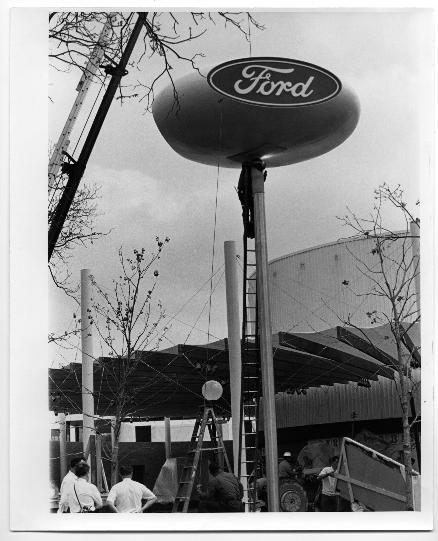 ford blue oval sign structure the portal to texas history. Black Bedroom Furniture Sets. Home Design Ideas