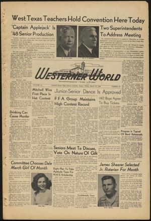 Primary view of object titled 'The Westerner World (Lubbock, Tex.), Vol. 14, No. 24, Ed. 1 Friday, March 12, 1948'.