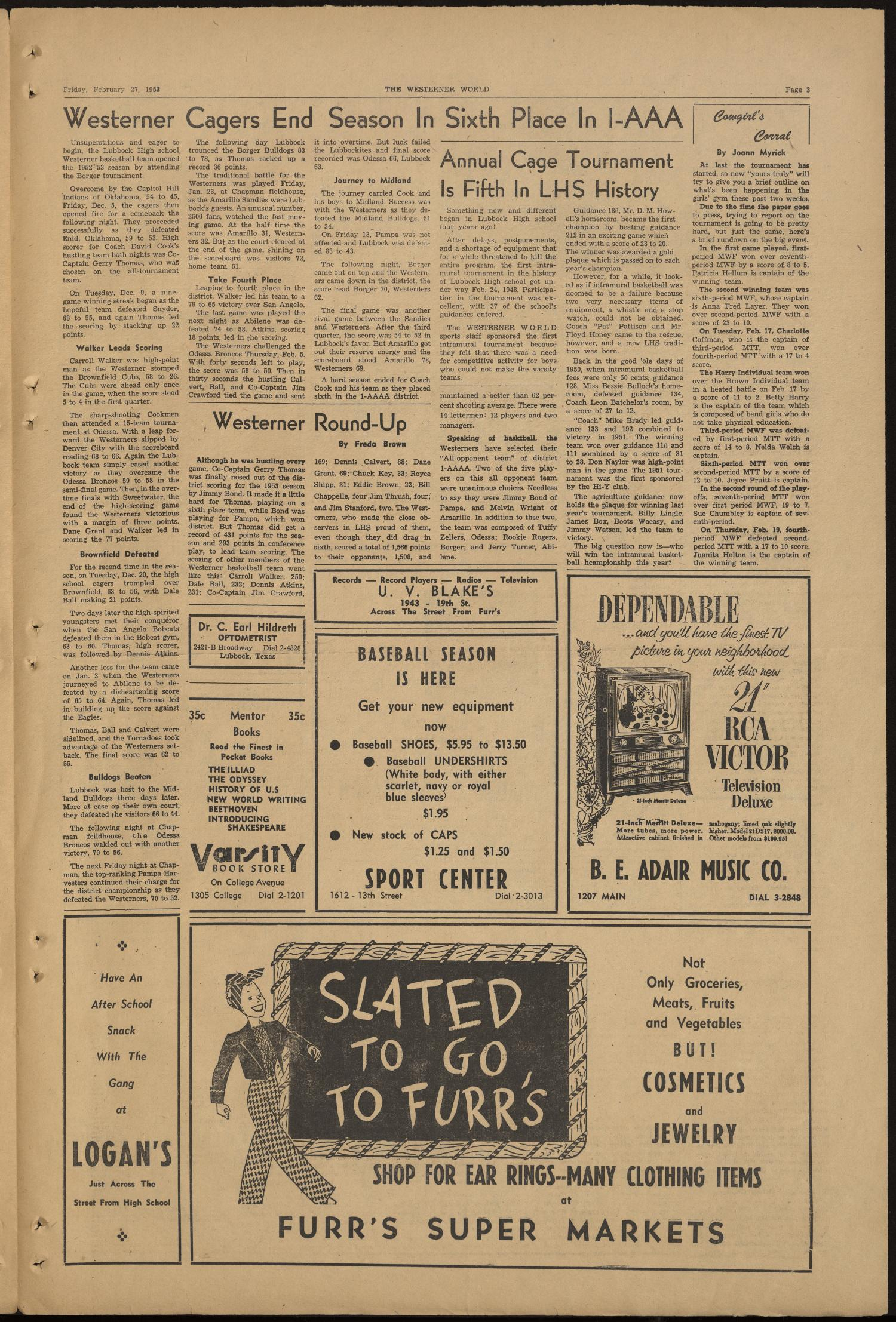 The Westerner World (Lubbock, Tex.), Vol. 19, No. 22, Ed. 1 Friday, February 27, 1953                                                                                                      [Sequence #]: 3 of 4