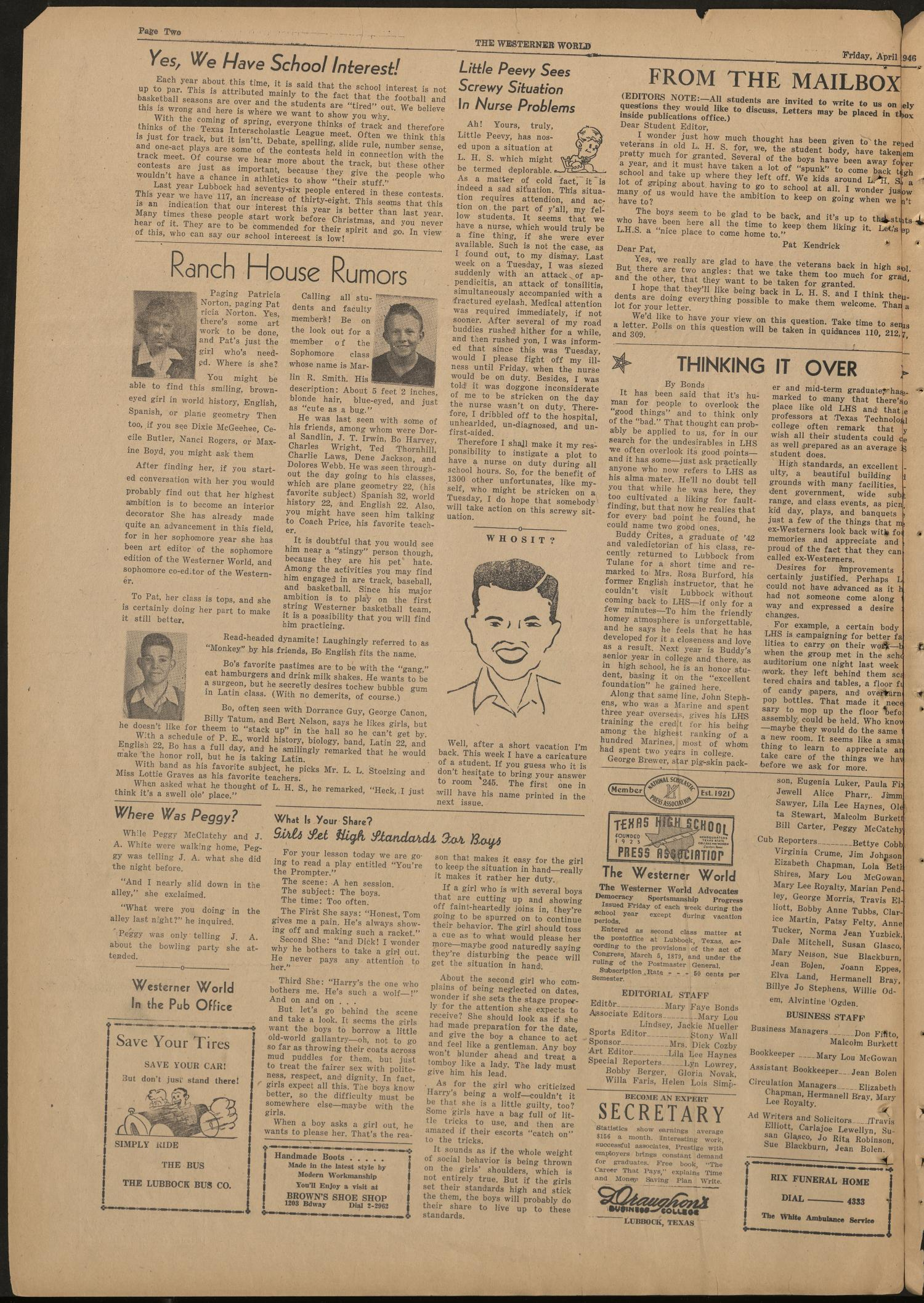 The Westerner World (Lubbock, Tex.), Vol. 12, No. 27, Ed. 1 Friday, April 5, 1946                                                                                                      [Sequence #]: 2 of 4