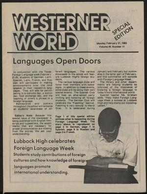 Primary view of object titled 'Westerner World (Lubbock, Tex.), Vol. 49, No. 11, Ed. 1 Monday, February 21, 1983'.