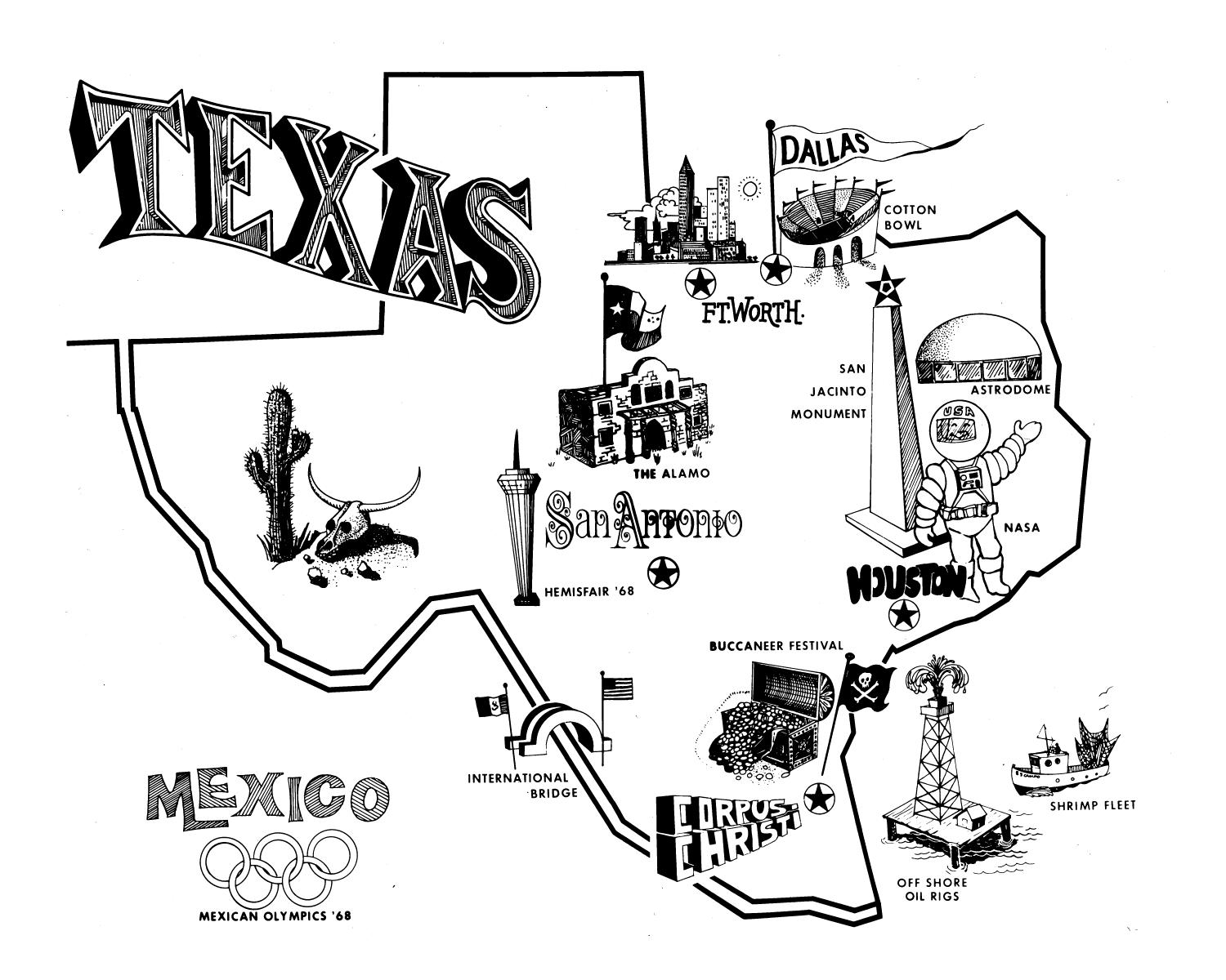 Texas tourism map The Portal to Texas History – Corpus Christi Tourist Attractions Map