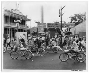 Primary view of object titled 'Bicycle riders in downtown San Antonio'.