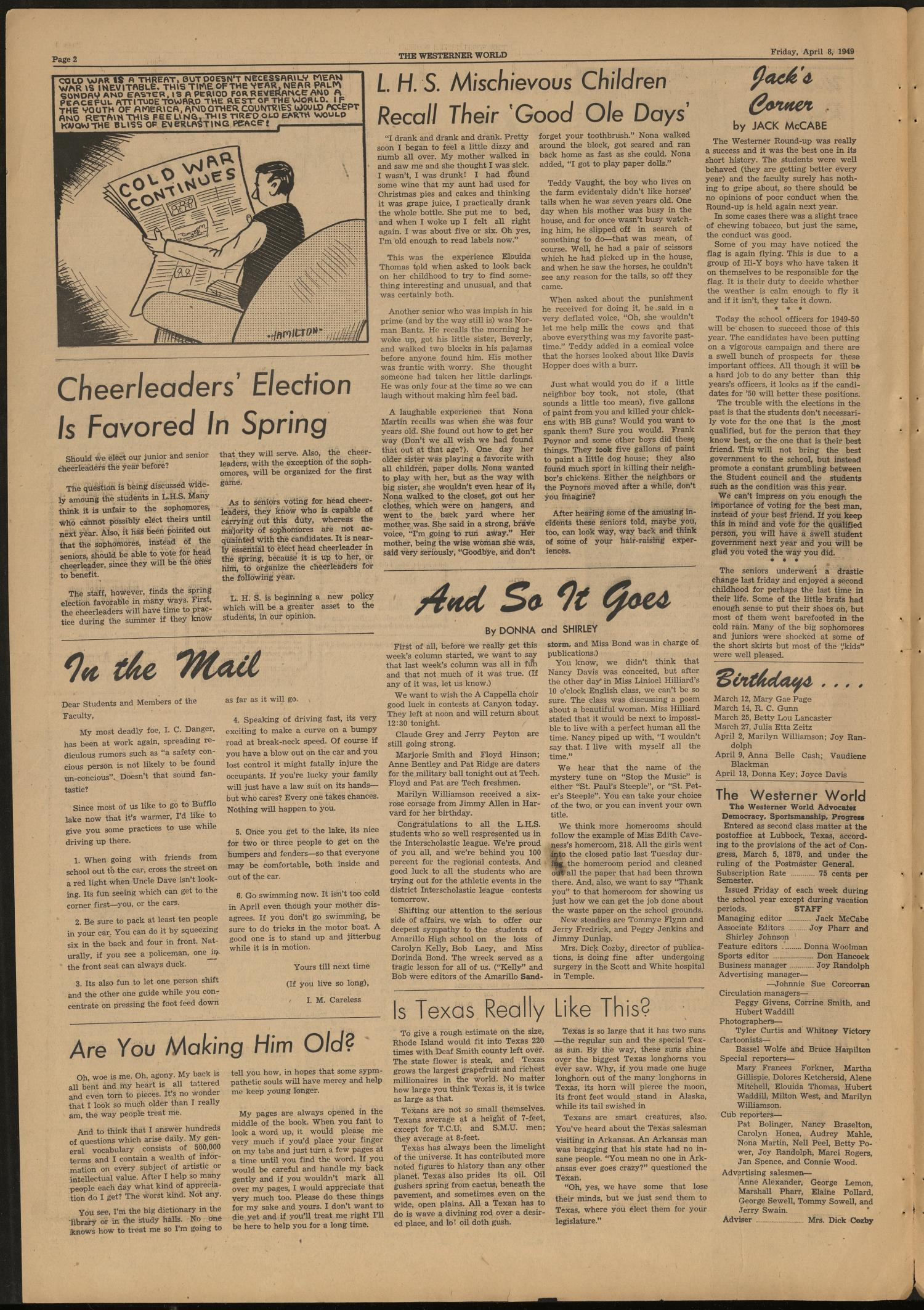 The Westerner World (Lubbock, Tex.), Vol. 15, No. 27, Ed. 1 Friday, April 8, 1949                                                                                                      [Sequence #]: 2 of 4
