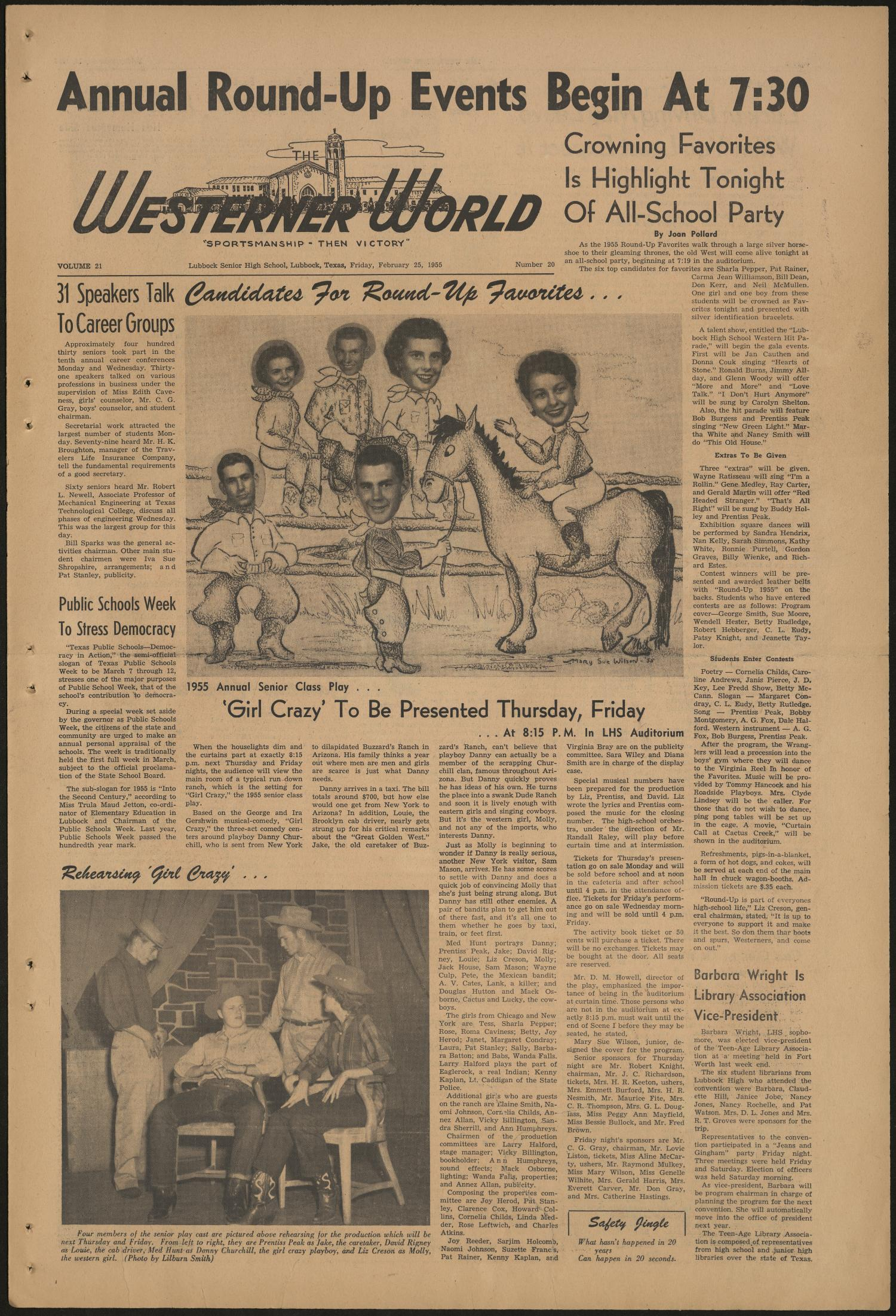 The Westerner World (Lubbock, Tex.), Vol. 21, No. 20, Ed. 1 Friday, February 25, 1955                                                                                                      [Sequence #]: 1 of 4